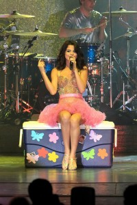 Selena Gomez Sits On A Trunk With Boyfriend Justin Biebers Pic On it