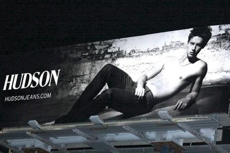 Patrick Schwarzenegger Topless On A Hudson Jeans Billboard