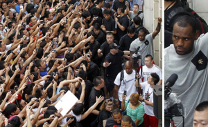 Lebron James Swarmed By Fans
