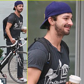Shia LaBeouf Takes Bike Ride