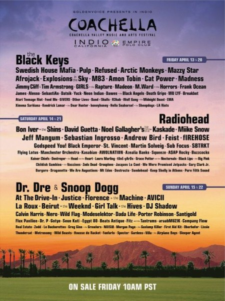 Lineup for 2012 Coachella Announced