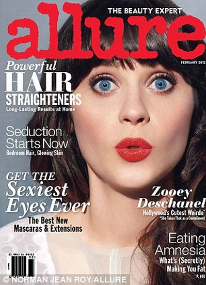 Zooey Deschanel Covers Allure February 2012 & Other News