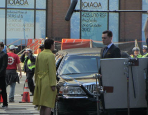Leighton Meester and Ed Westwick on Set