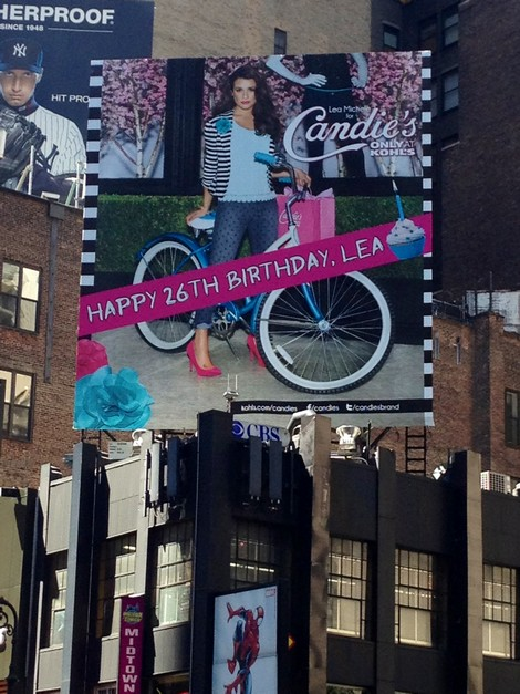Lea Michele's Birthday Message On Her Candies Billboard In Time Square (Photo)