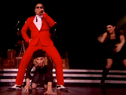 "Madonna Performing ""Gangnam Style"" With PSY (Video)"