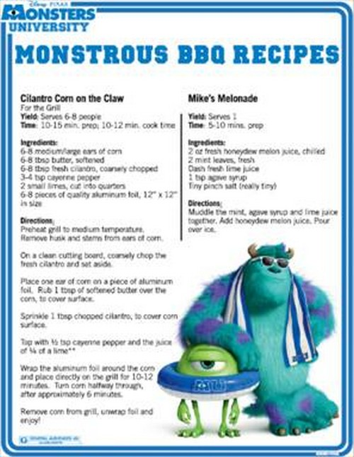 Some Delicious BBQ Recipes on behalf of Monsters University