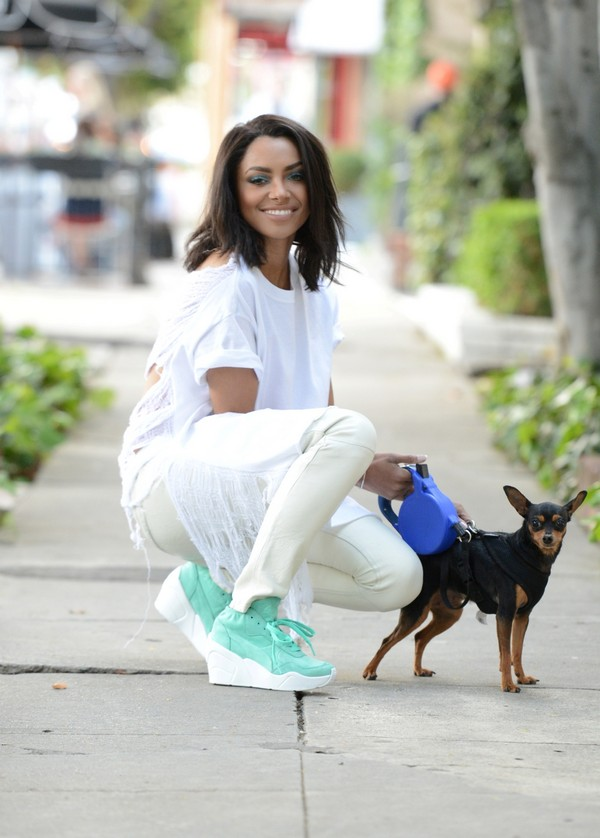 The Vampire Diaries' Kat Graham and Her Dog Take A Walk (Photos)